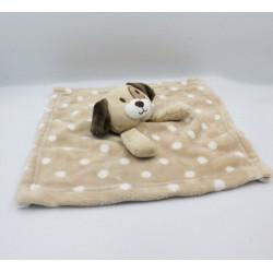 Doudou plat couverture chien beige marron pois blanc