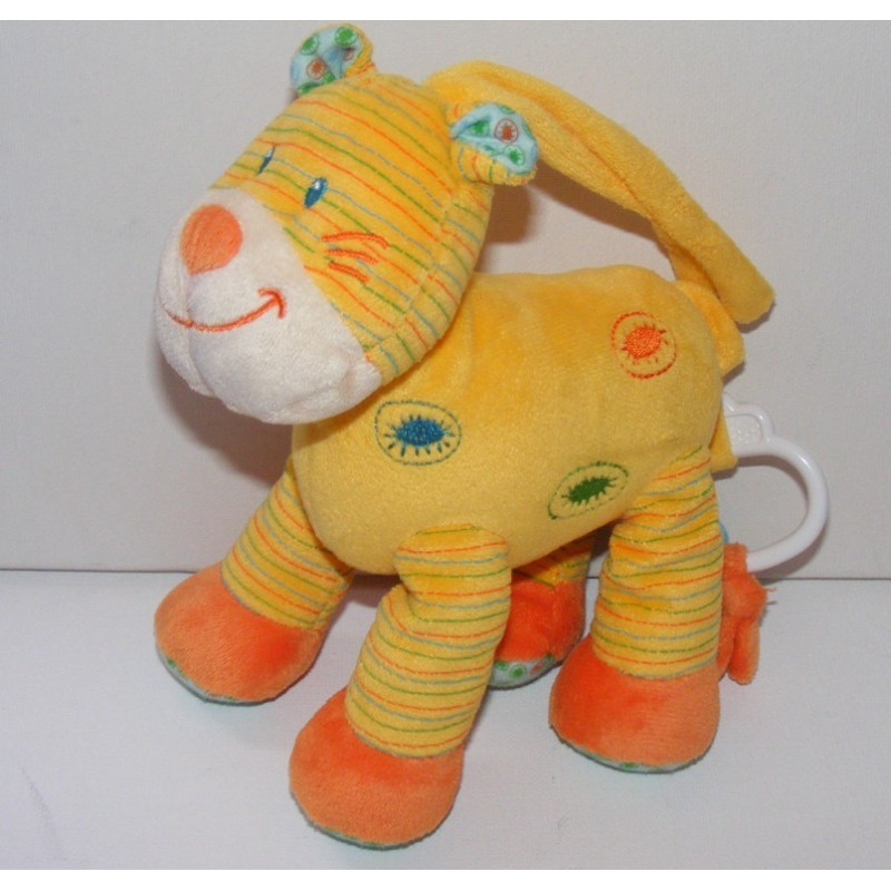 Doudou musical chat tigre rayé jaune NICOTOY