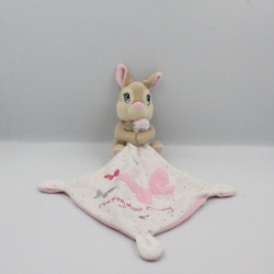 Doudou lapin Pan-pan Pretty Miss Bunny mouchoir rose blanc DISNEY NICOTOY
