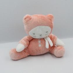 Doudou chat orange rose blanc OBAIBI