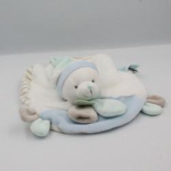 Doudou plat rond ours blanc bleu beige rayé Les Tendres BABY NAT