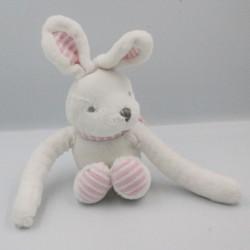 Doudou lapin blanc rose rayé aux longs bras