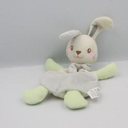 Doudou plat lapin blanc vert gris pois VERTBAUDET