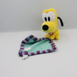 Doudou chien Pluto mouchoir bleu mauve DISNEY PTS