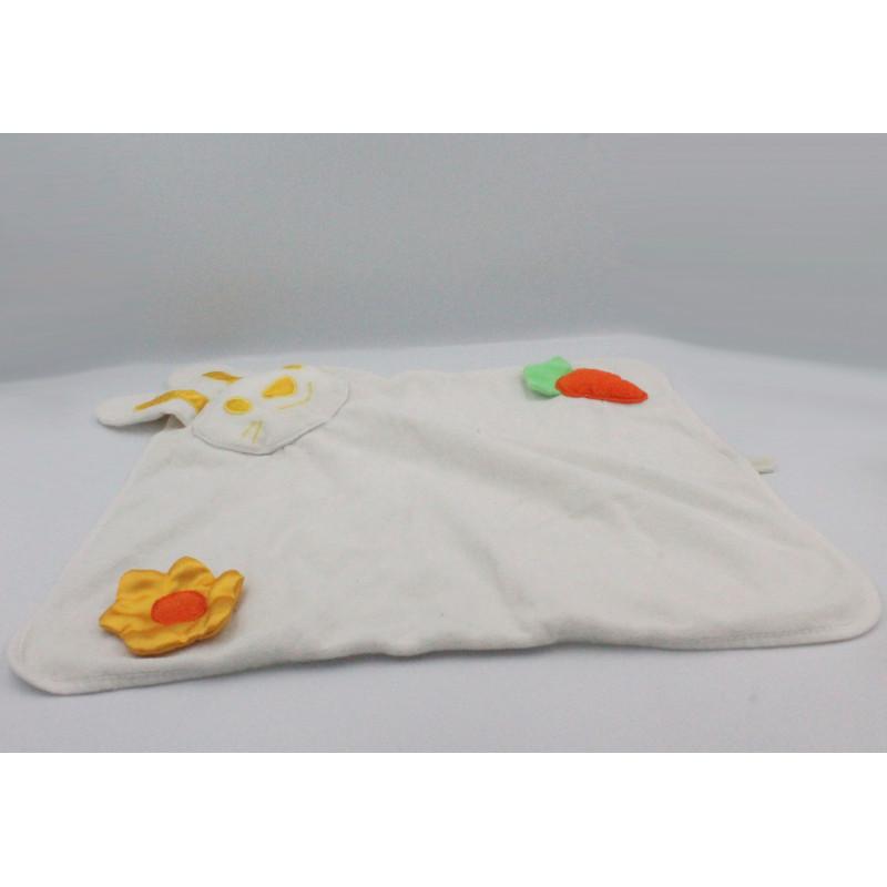Doudou plat couverture lapin blanc jaune carotte fleur
