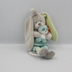Doudou musical lapin gris bleu vert panda TEX
