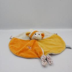 Doudou plat rond souris blanc jaune orange Gipsy