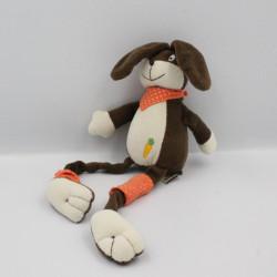 Doudou lapin marron orange aux longues pattes LES PETITES MARIE