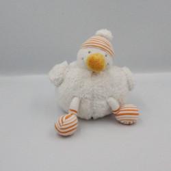Doudou canard oiseau blanc orange PREMAMAN