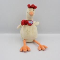Doudou poule beige écru rouge fleur CHILD FOCUS