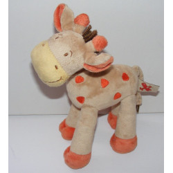 Doudou Girafe orange saumon MOTS D'ENFANTS