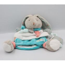 Doudou et compagnie marionnette lapin blanc bleu rayé Puzzle HAPPY