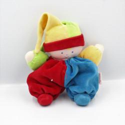 Doudou lutin clown rouge bleu vert jaune COROLLE