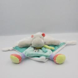 Doudou et compagnie plat hippopotame bleu blanc vert Tropicool