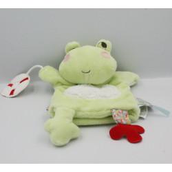 Doudou plat marionnette grenouille verte Nopnop KALOO