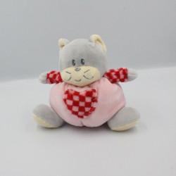 Doudou boule chat gris rose coeur AJENA