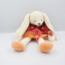 Doudou et compagnie lapin Bonnie blanc orange rouge col étoile