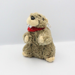 Peluche marmotte foulard rouge CAREN DESIGN
