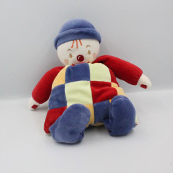 Doudou Clown à carreaux bleu jaune rouge Sucre d'Orge