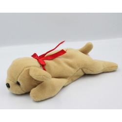 Doudou chien beige collier noeud rouge PLEIN NORD