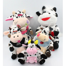Peluche vache blanche noir lot de 5