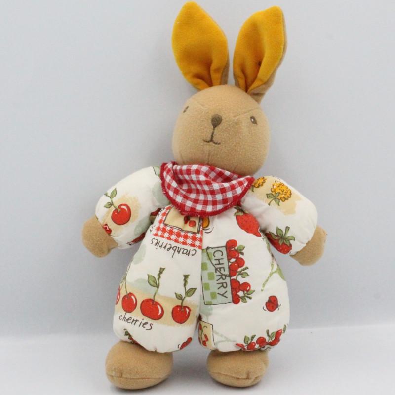 Doudou lapin blanc vert rouge cerises AJENA