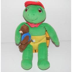 Peluche tortue Franklin avec doudou ours martin JEMINI