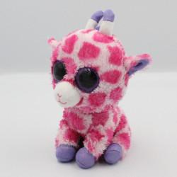 Peluche girafe rose violet Gros yeux brillant TY