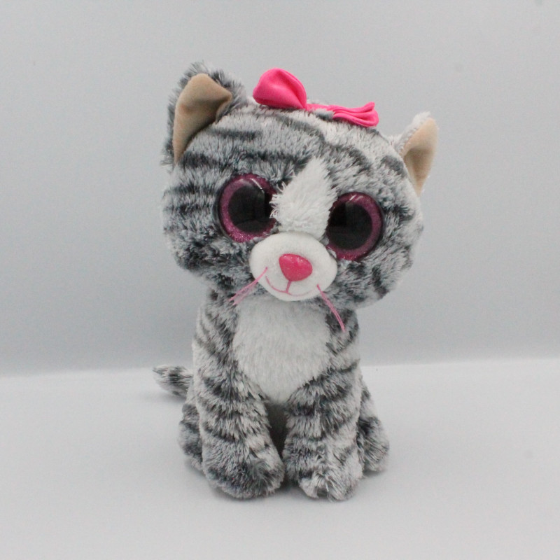 Peluche chat tigre gris rose Gros yeux brillant TY