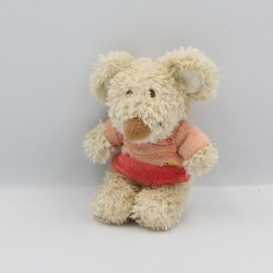 Mini doudou souris beige rose orange TEX