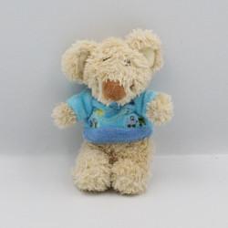 Mini doudou souris beige bleu TEX