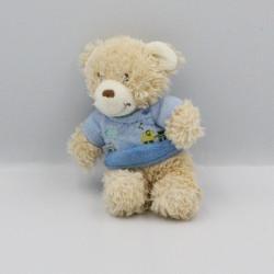 Mini doudou ours beige bleu TEX