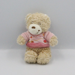 Mini doudou ours beige rose TEX