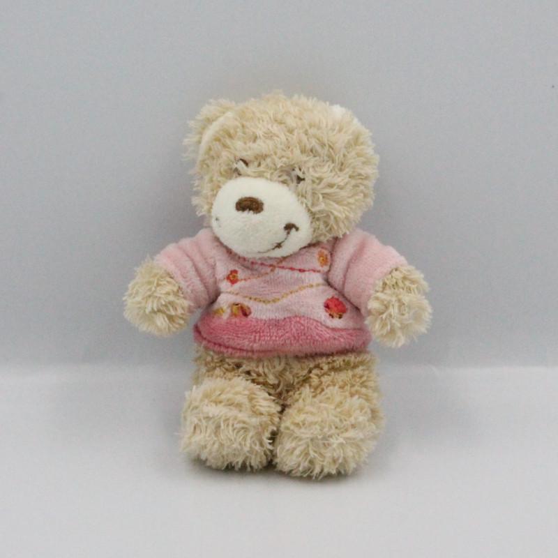 Mini doudou ours beige rose TEX
