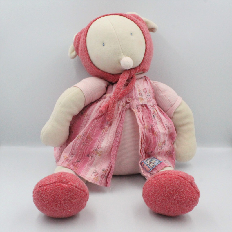 Grand Doudou Souris Lila Patachon robe rose MOULIN ROTY