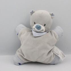 Doudou semi plat ours gris bleu rayé BOUTCHOU BOUT'CHOU