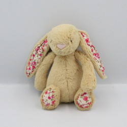 Doudou lapin beige fleurs nez rose JELLYCAT