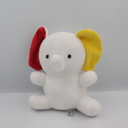 Doudou éléphant blanc rouge jaune PAPOUM FLEURUS