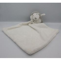 Doudou hérisson gris blanc couverture mouchoir
