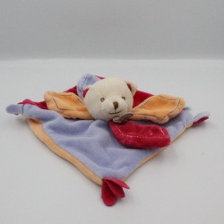 Doudou plat ours mauve orange rose pétales BABY NAT