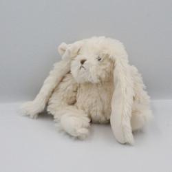 Doudou lapin blanc écru noeud BUKOWSKI