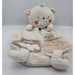 Doudou range pyjama ours blanc beige rayé Kitchoun KIABI