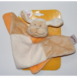 Doudou plat mouton agneau beige blanc foulard orange BENGY