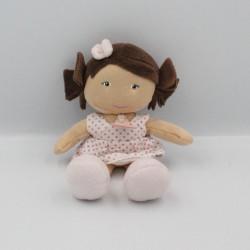Doudou et compagnie poupée fille blan rose pois Demoiselles doudou