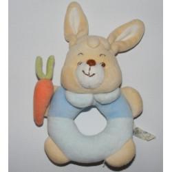 Doudou  lapin bleu avec carotte JOLLYBABY