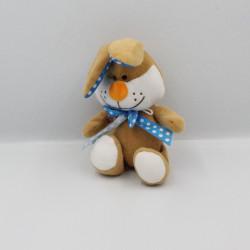 Doudou lapin beige blanc bleu pois FIZZY