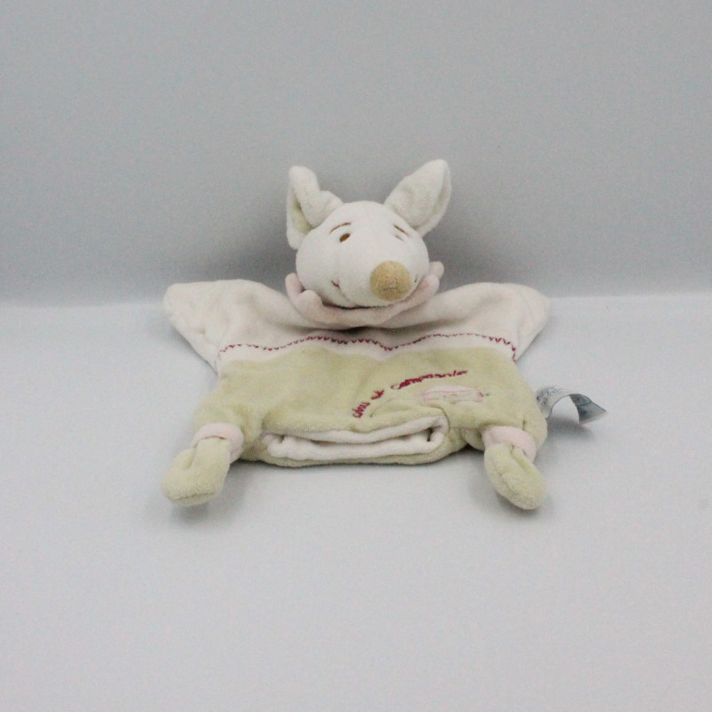 Doudou et compagnie marionnette souris blanc vert rose Barbotine