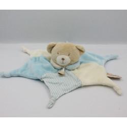 Doudou plat étoile ours blanc beige bleu BABY NAT