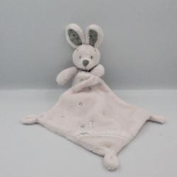 Doudou lapin blanc rose gris mouchoir VERTBAUDET
