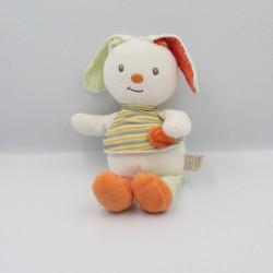 Doudou lapin blanc orange vert Bébé9